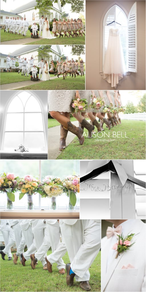 Altadena Valley Church wedding Photos, boots, bridesmaids, groomsmen, socks, hanger, dress, flowers