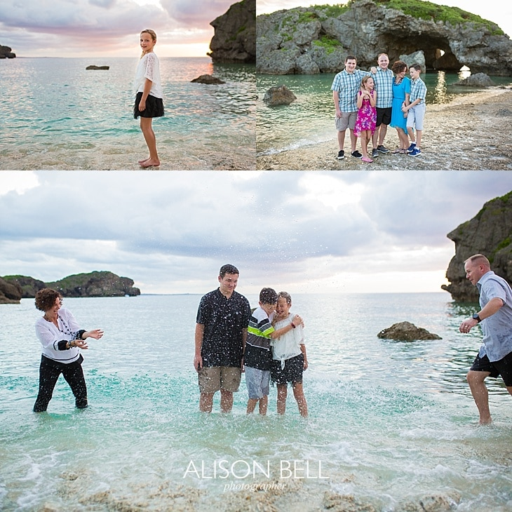 Family of 5 photo session at Mermaid's Grotto Beach in Okinawa, Japan.