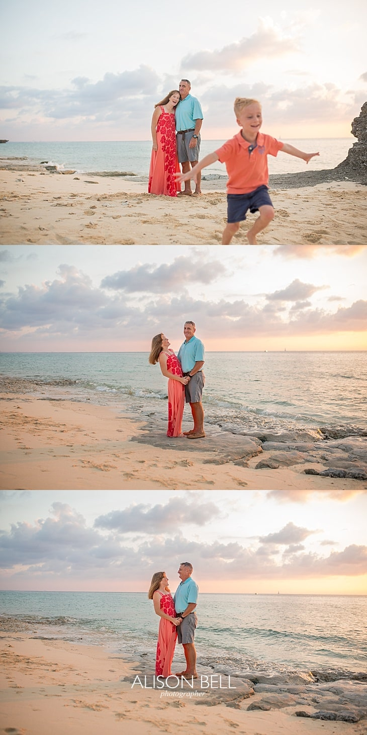 couple, mom and dad on the beach in okinawa japan at sunset by alison bell photographer