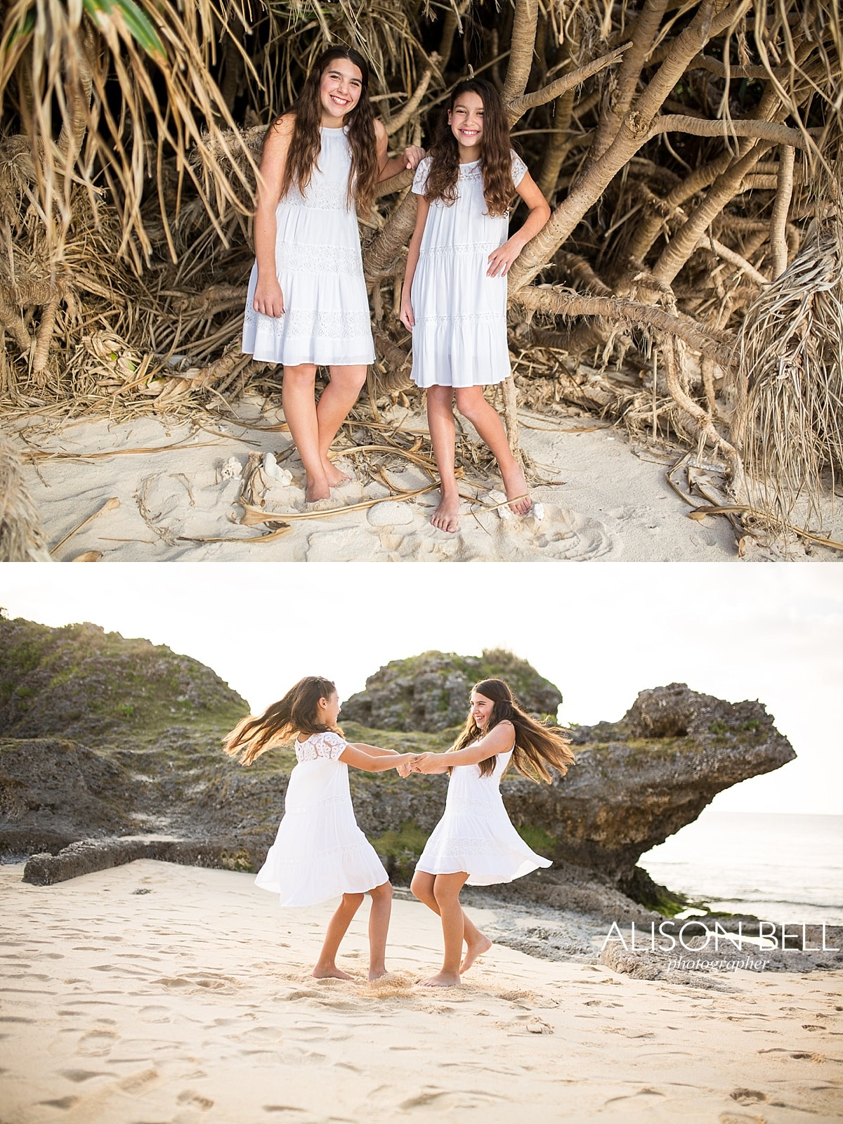 beach, yomitan, sisters, tween, teen, girls, family photographer, okinawa japan, alison bell, photographer