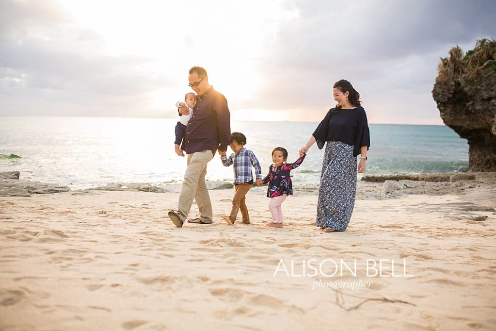 Family of three on the beach in OKinawa Japan by Alison Bell Photographer, toddler, infant, family of 5, preschooler