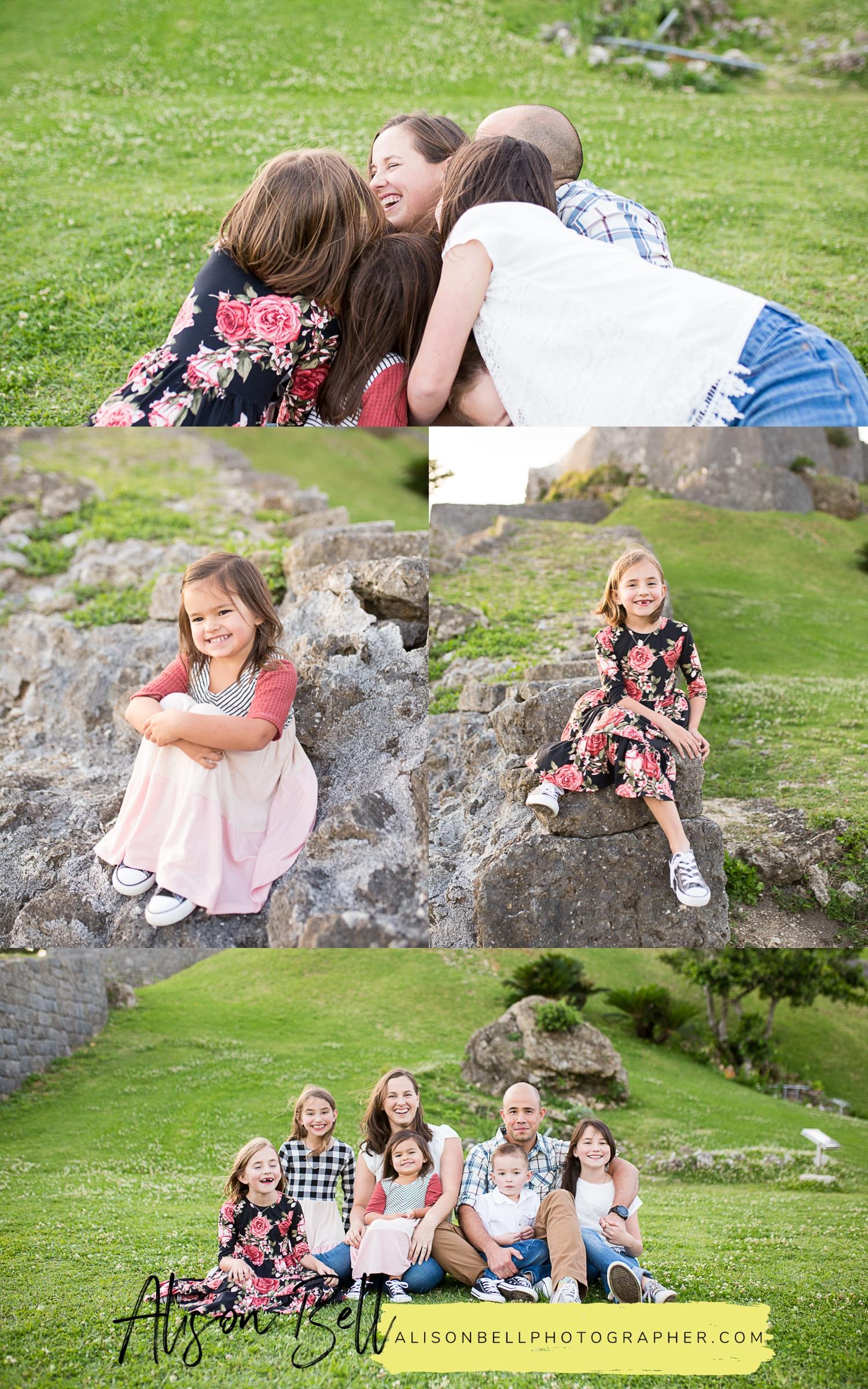 Large fun family photographer with seven kids at Katsuren Castle in Okinawa Japan by Alison Bell, Photographer