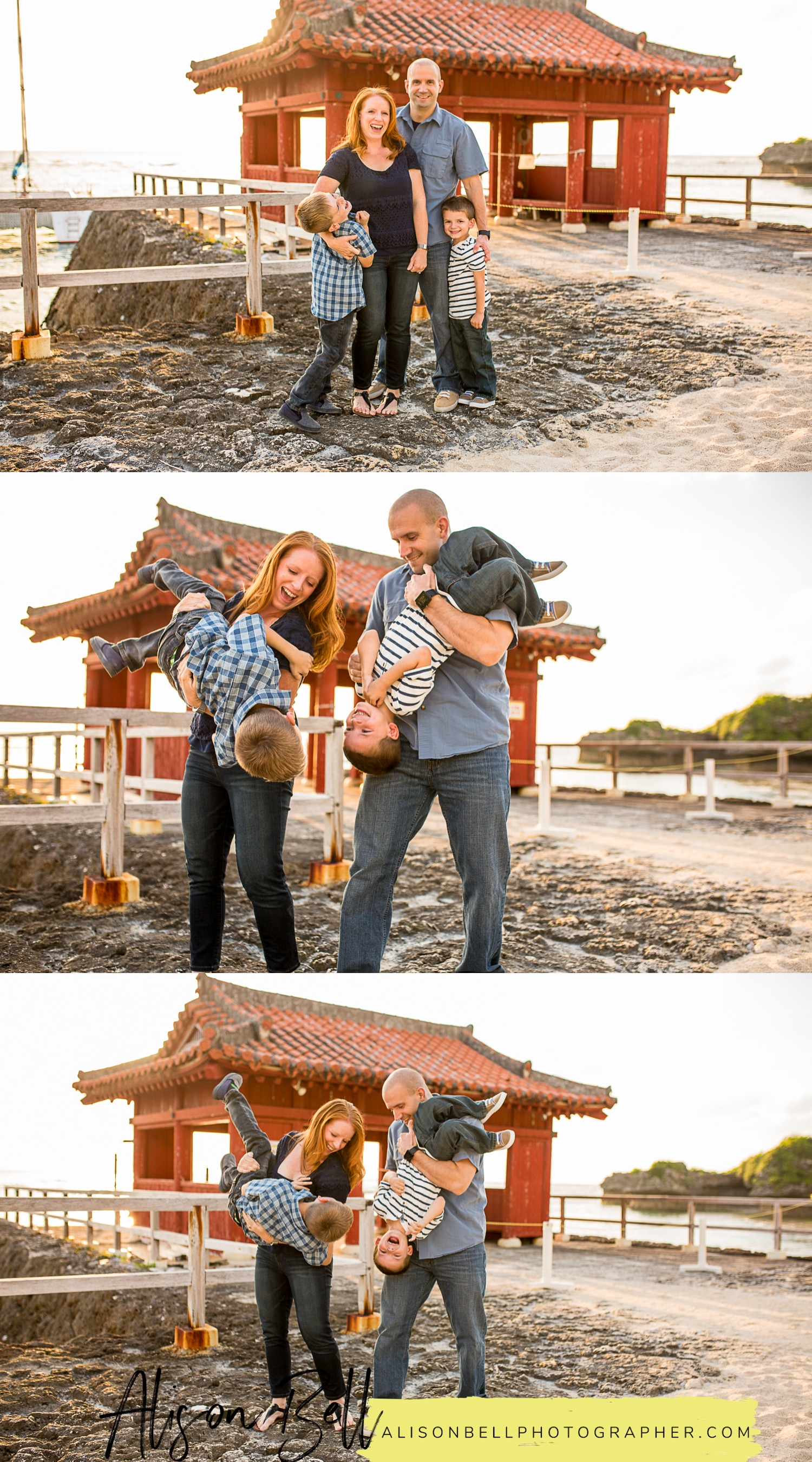 Family beach and torii photo session at the Gala in Okinawa, Japan by Alison Bell Photographer