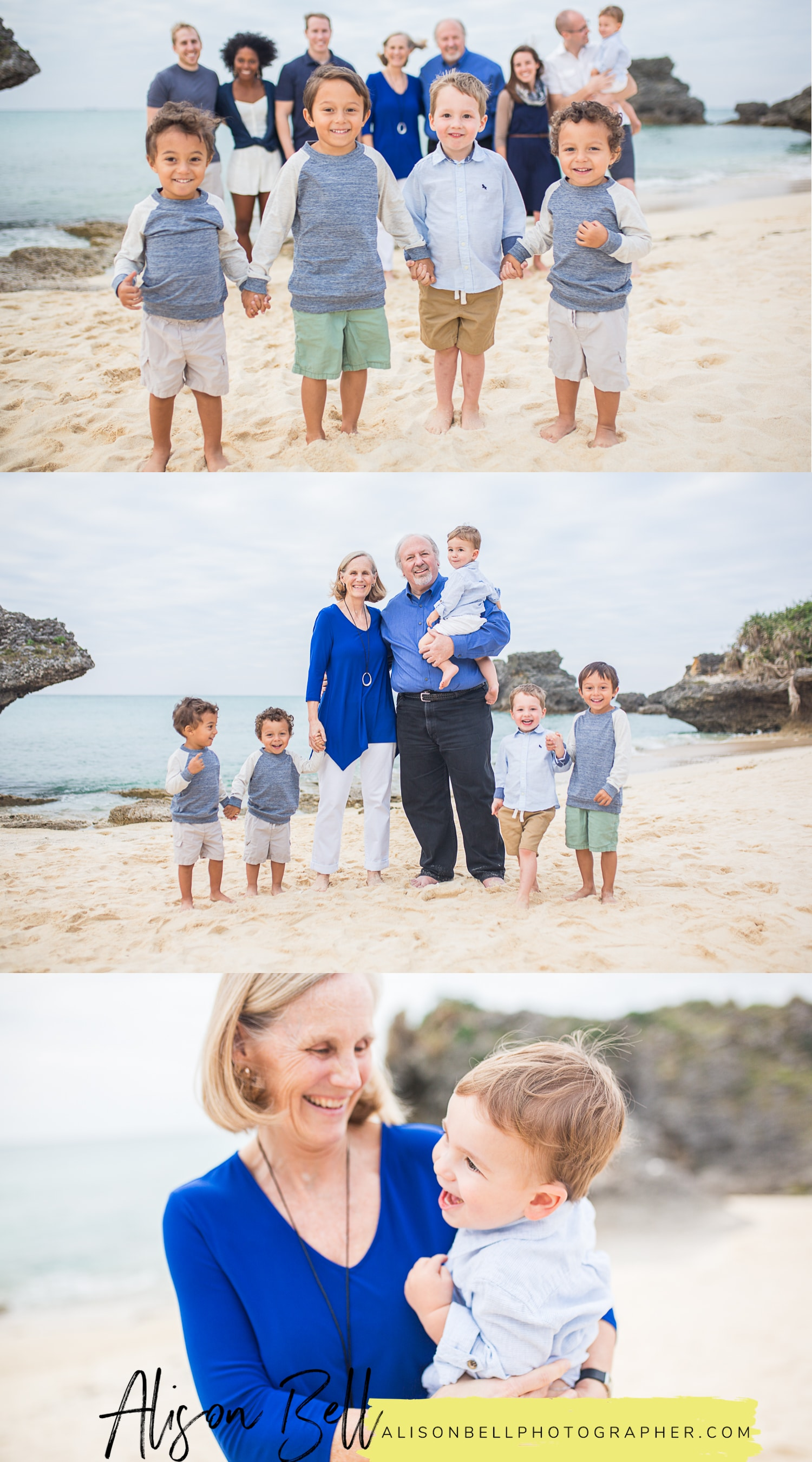 Extended family of 12 on the beach with 5 grandsons in Okinawa Japan by Alison Bell, Photographer