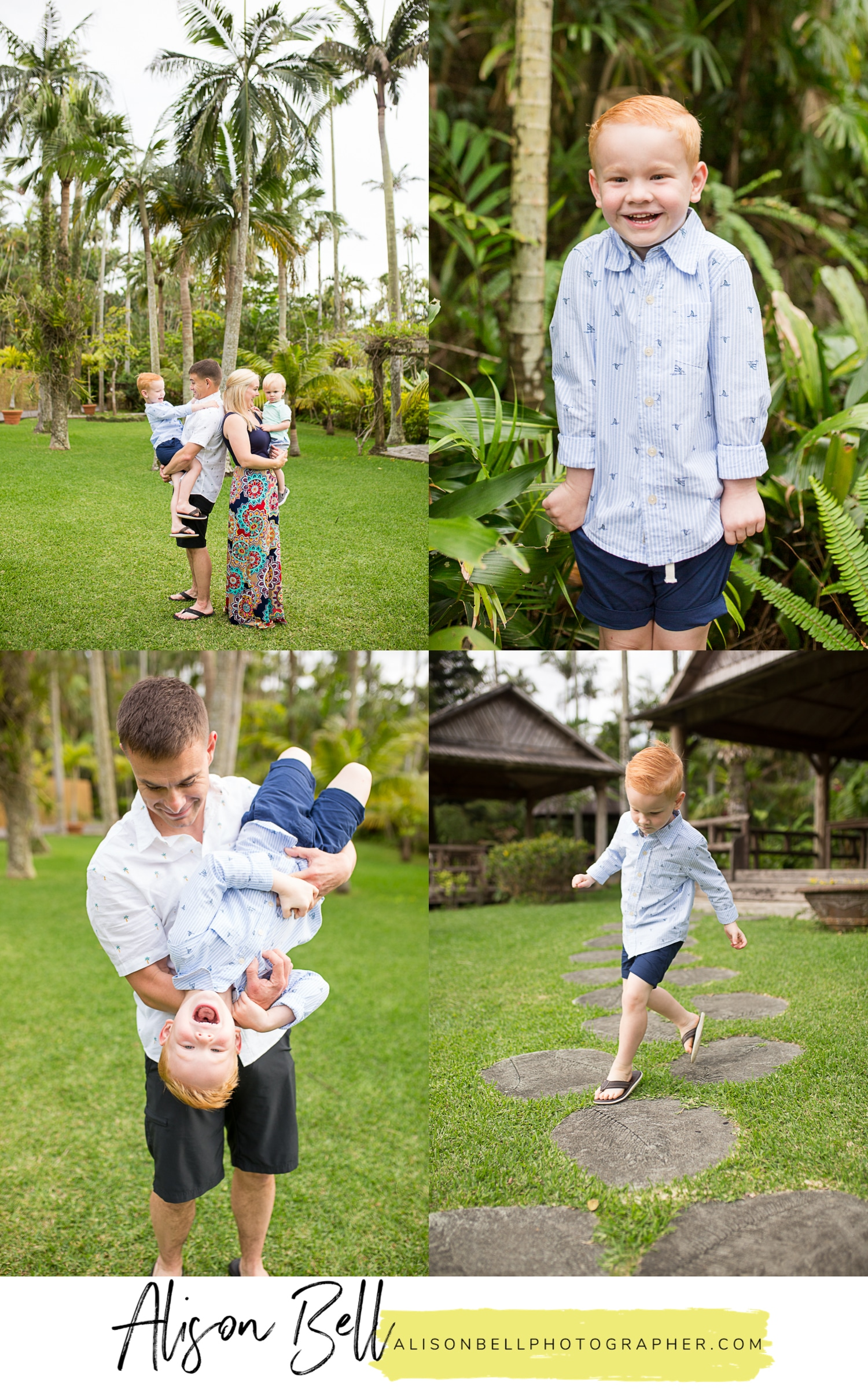 Family of four photo session at Okinawa's Southeast Botanical Gardens by Alison Bell, Photographer