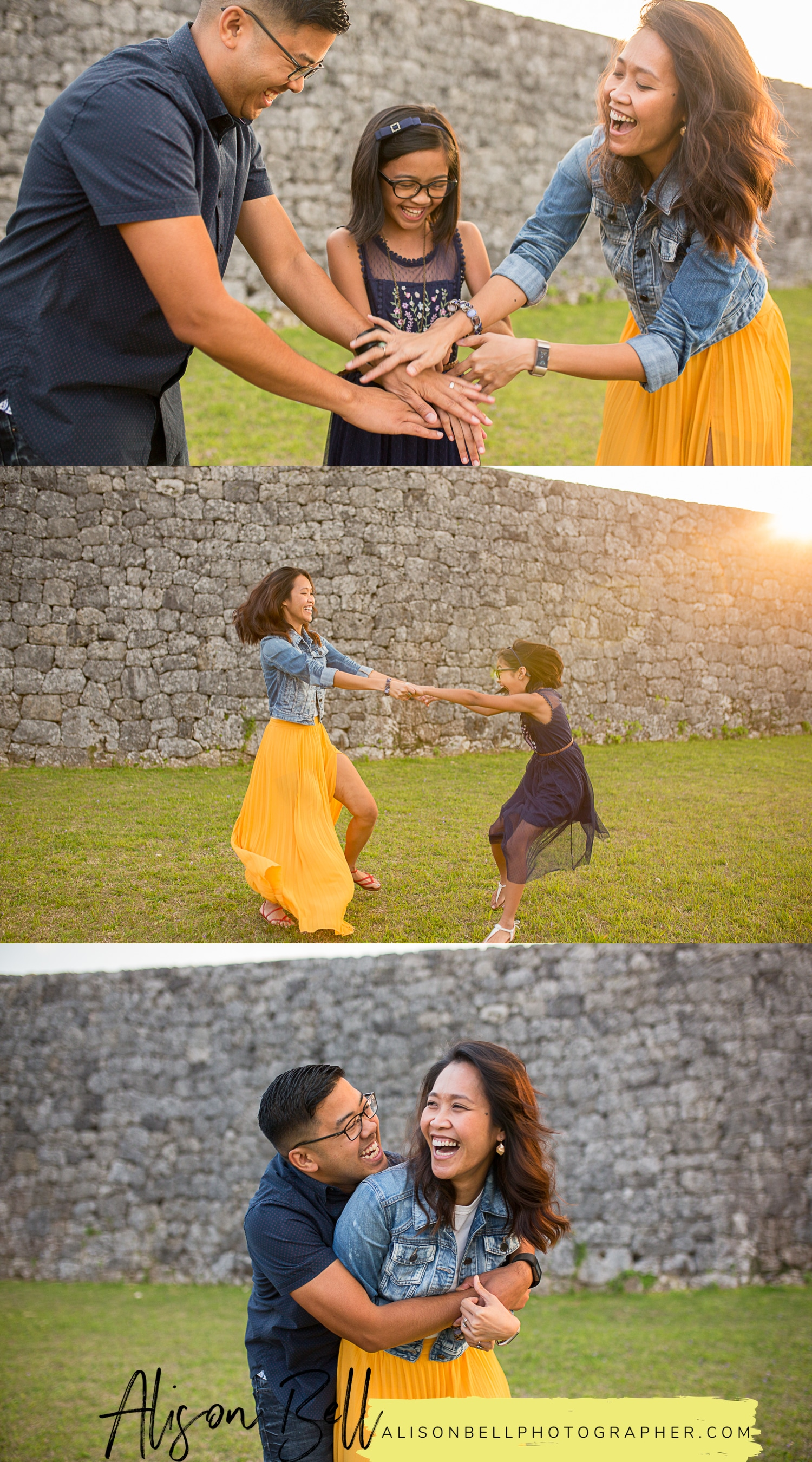 Half Priced Mini Sessions in 15 minutes at Zakimi Castle in Okinawa, Japan by Alison Bell, Photographer. Great for families, kids, cake smash, maternity and simple senior portraits