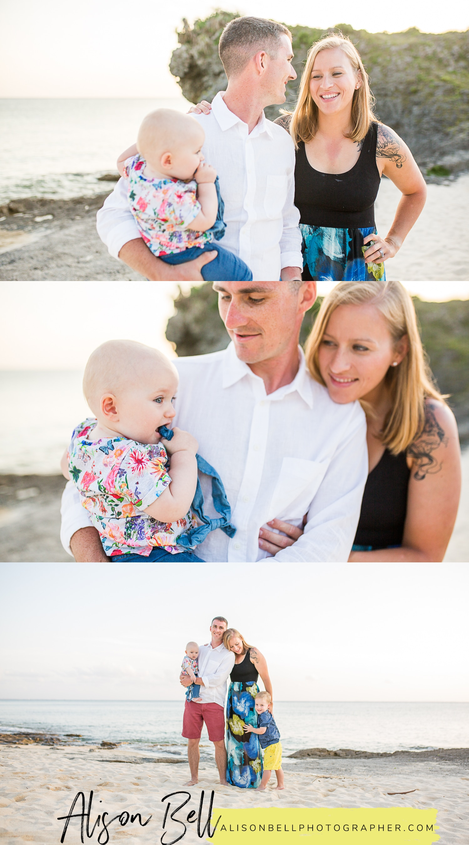 Playful, stress free family photos with Alison Bell, Photographer on the beach in Okinawa, Japan.