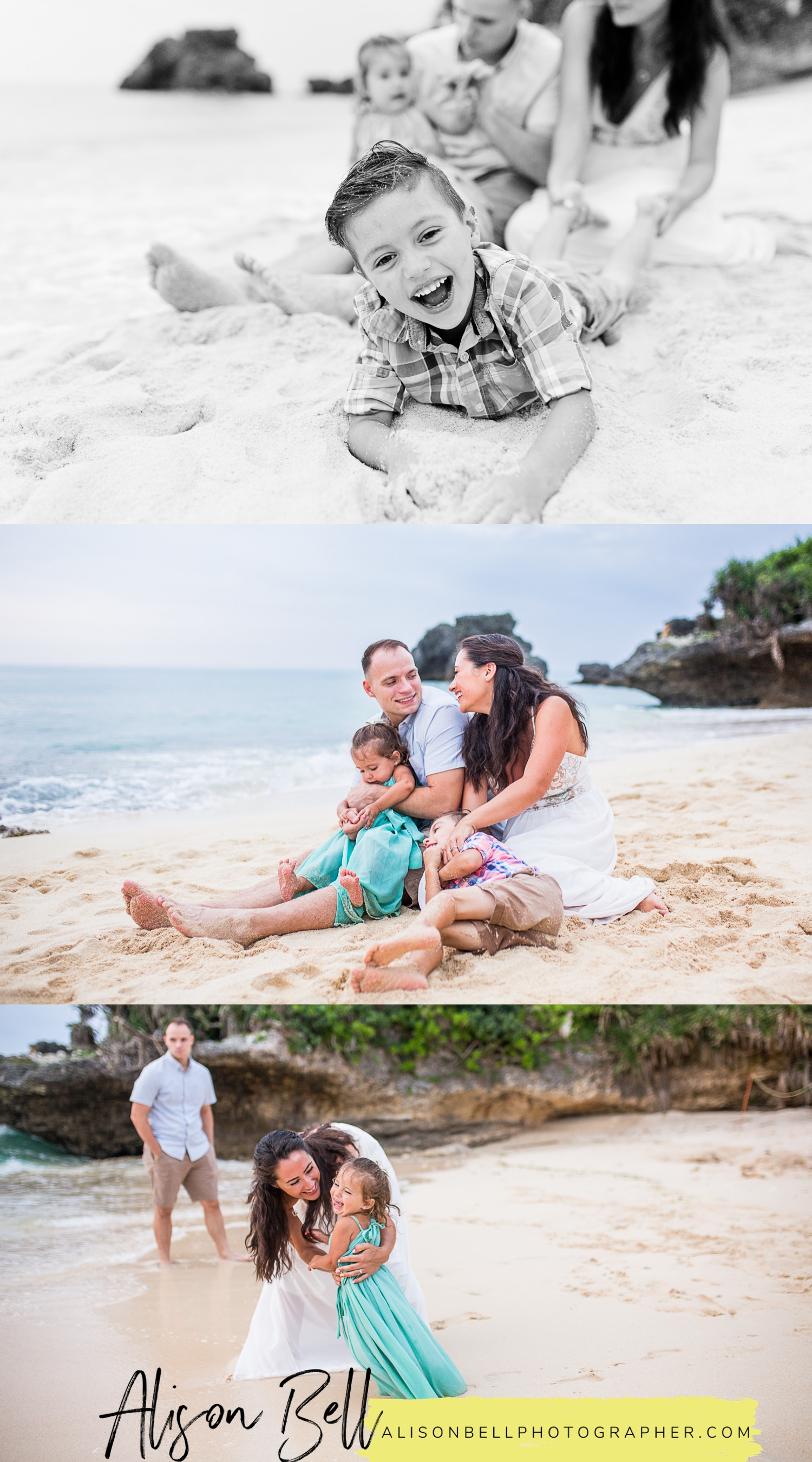 Family of 4, toddler and preschooler, photo session on the beach in Okinawa Japan by Alison Bell Photographer.