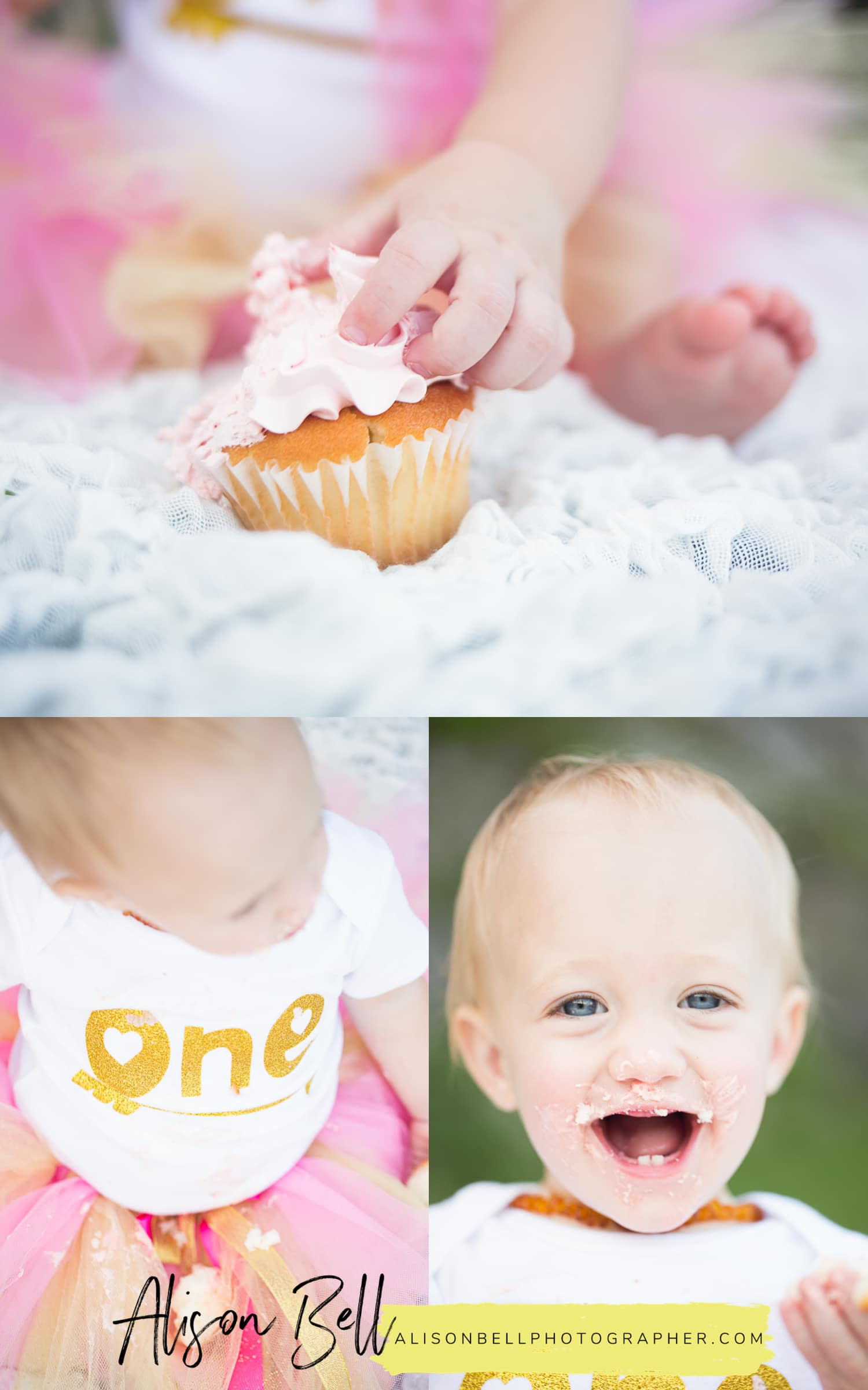 One year birthday photo session and cake smash with a cupcake in Okinawa Japan at Zakimi Castle by Alison Bell, Photographer #alisonbellphotog alisonbellphotographer.com