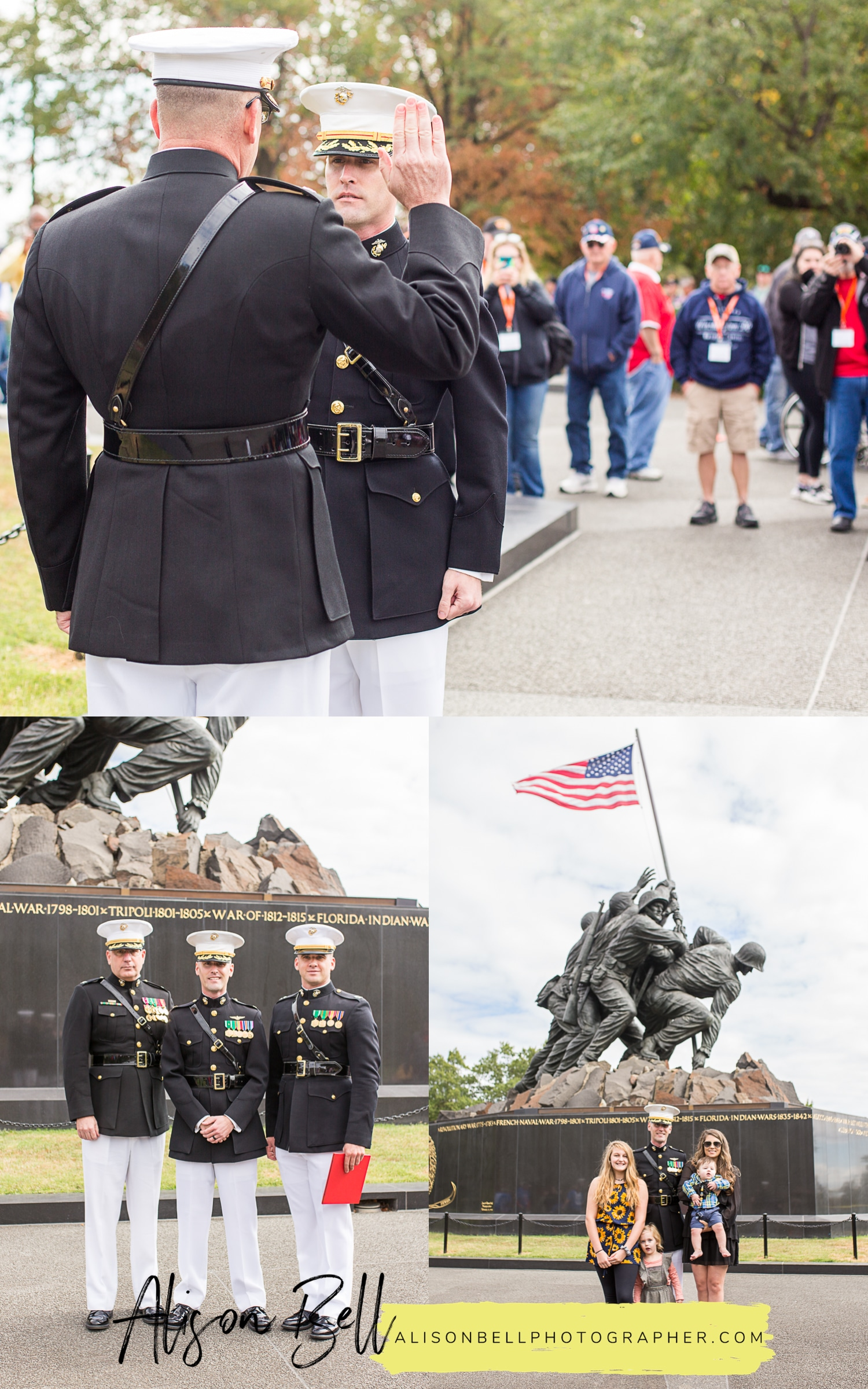 Marine Corps Promotion pinning ceremony at US Marine Corps War Memorial Iwo Jima Washington, DC by Alison Bell, Photographer.