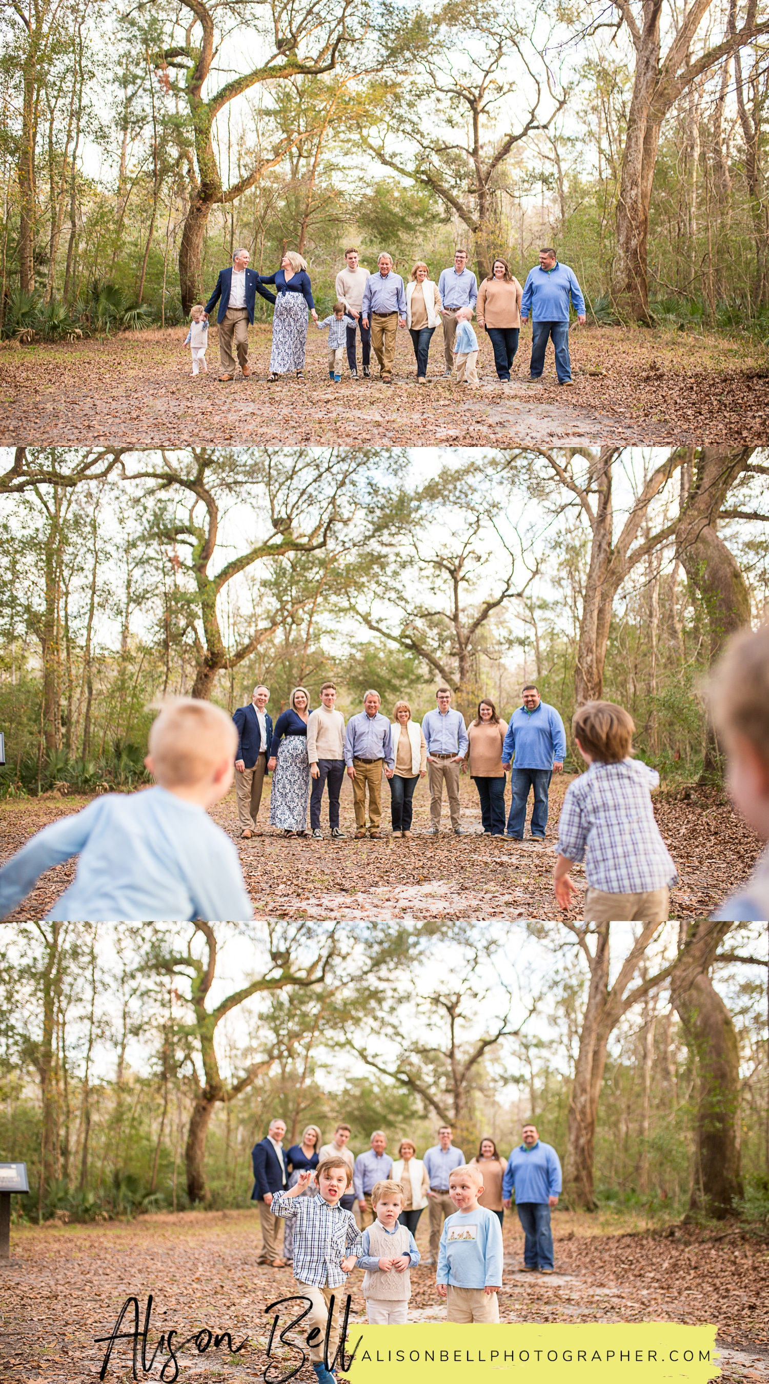 Extended family session with adult children, grandkids, and grandparents at Colonial Dorchester State Park in Charleston, South Carolina by Alison Bell, Photographer
