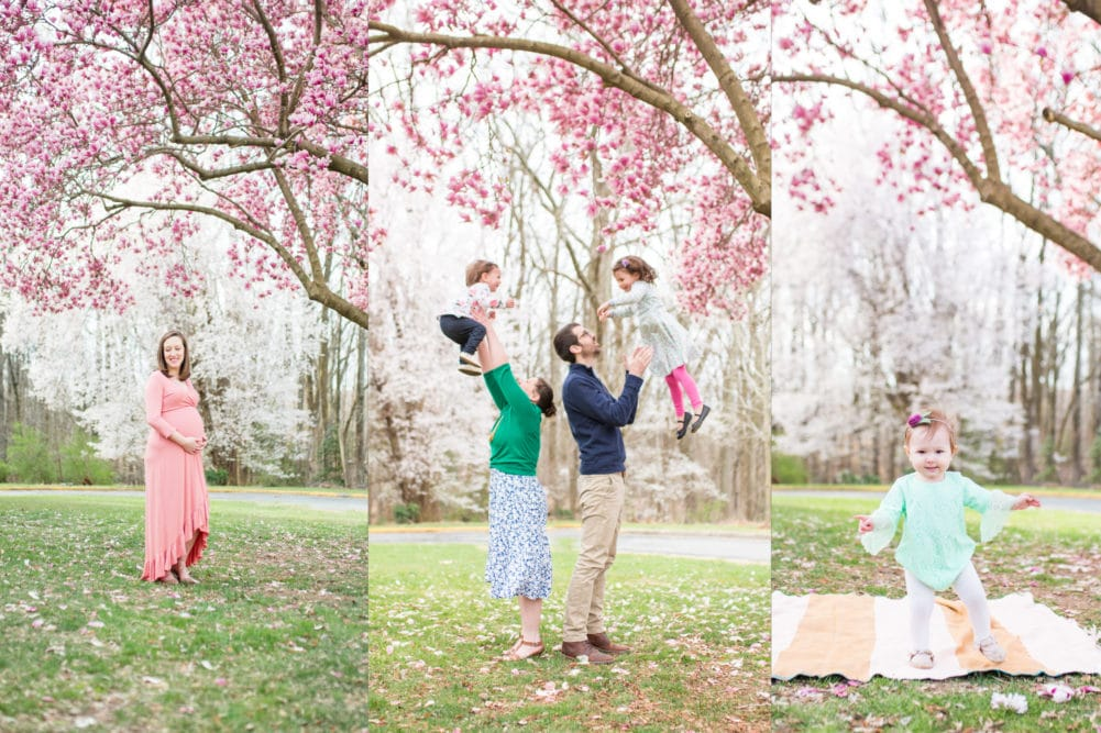 Half Price Couples Family Mini Sessions on Marine Corps Base Quantico with Spring saucer magnolia blossoms by Alison Bell, Photographer. Alisonbellphotographer.com