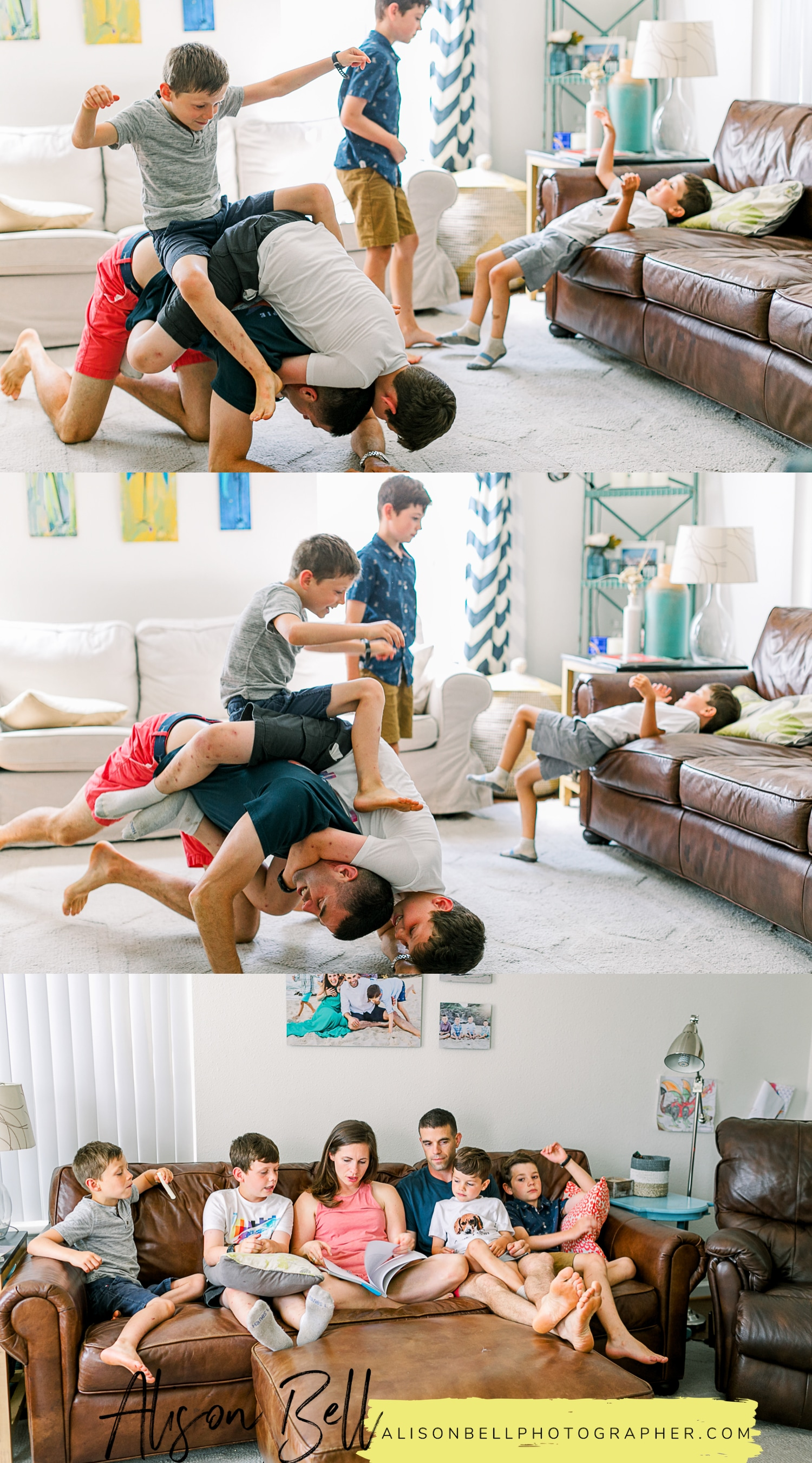 Family of 6 in home lifestyle photography session
