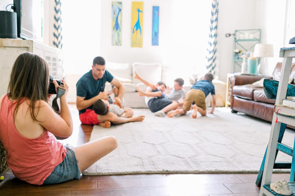 lifestyle photography in home session with a family