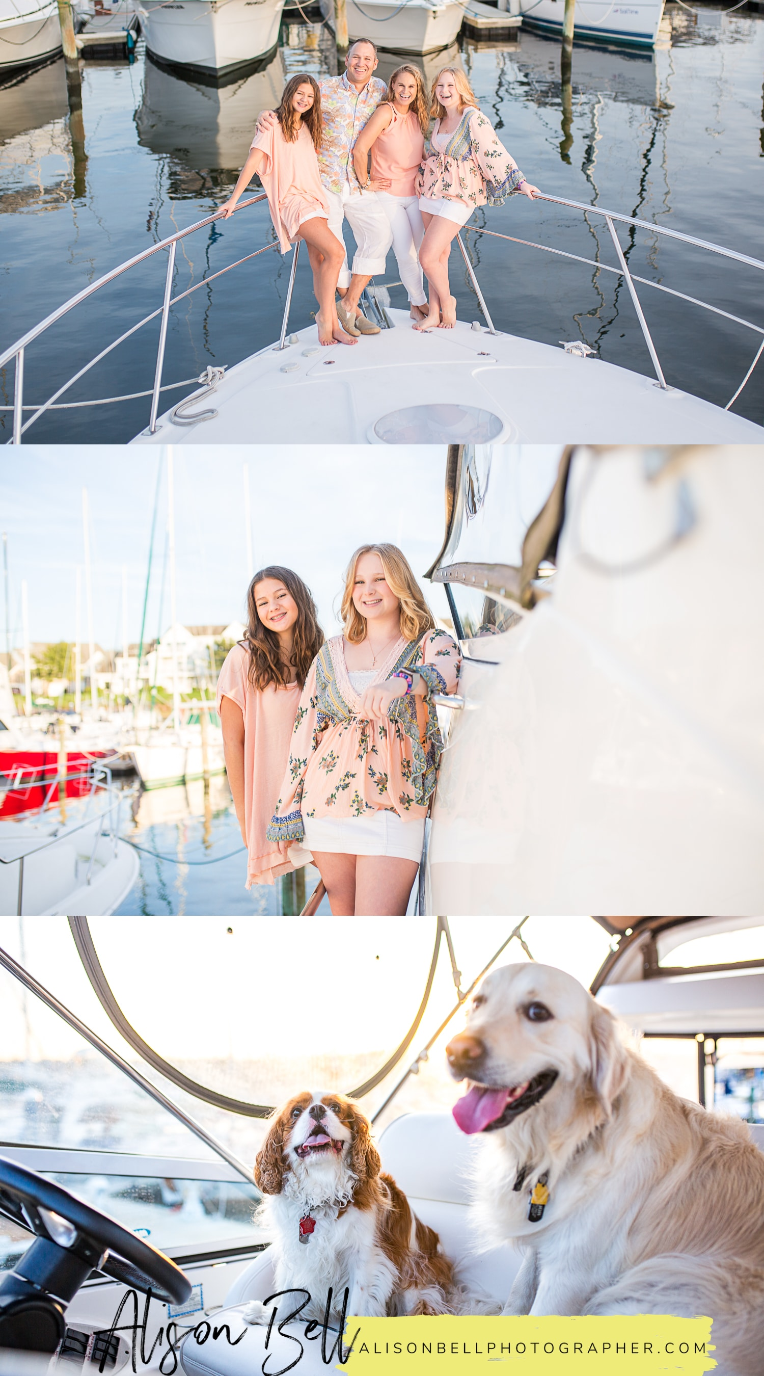 Family photo session on the boat docked in the marina, east beach norfolk